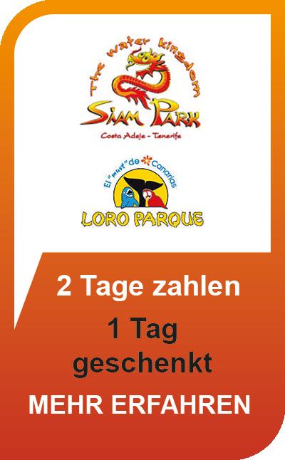 Siam Park + Loro Parque Kombiticket - 2 Tage zahlen, 1 Extratag geschenkt