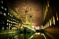 golden hinde at night