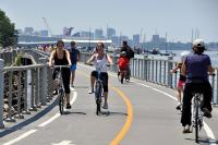 Bikers on Hudson Promenade