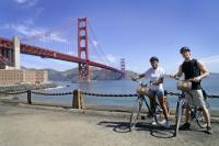 Golden Gate Bridge with two cyclists