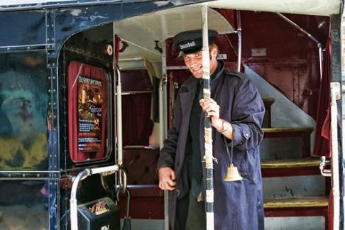 Ghost Bus tour conductor