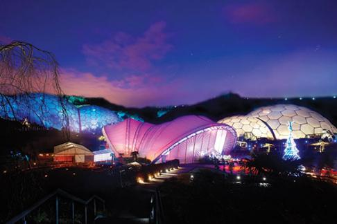 Biomes at Cornwall's Eden Project lit up for Christmas