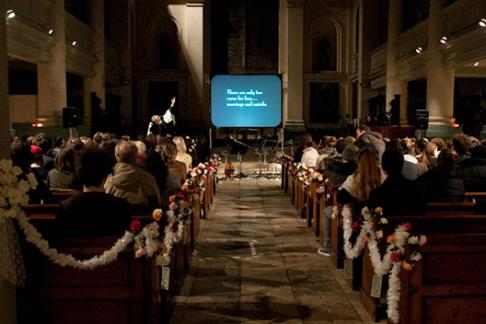 Screening with Live performances in a Church for the Branchage film festival jersey