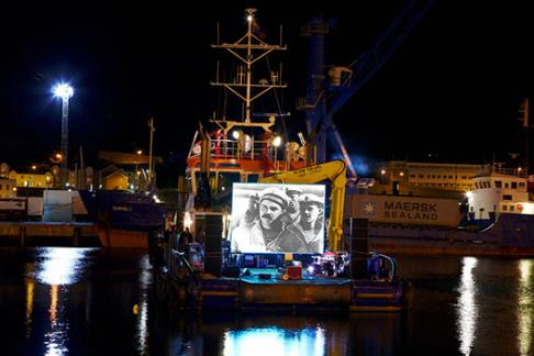 Battleship Potemkin projected on to a ship at the Branchage Film Festival Jersey